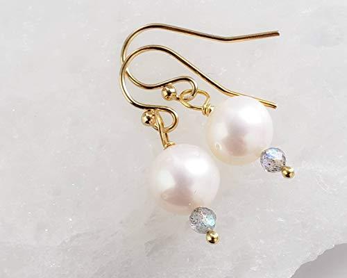 Pearl & Labradorite Drop Earrings Freshwater Pearl Drops Delicate Pearl Earrings Gift For Her Spring Style Minimalist Jewelry