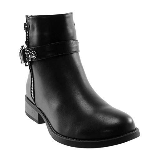 Jumper Boot Boot Lanyard Block 5 Buckle Angkorly Donna interno nero 3 riempito Heel Cm Fashion Scarpa Biker Zip Closure EpwxqX