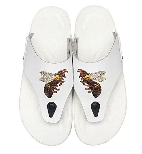 Flops Leather Beach Summer on TDA Men's Casual White Slippers Slip Flip TtFxzqZ