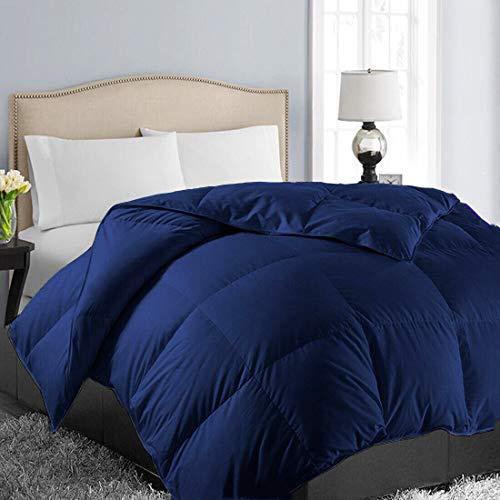 Insert Solid Navy - EASELAND All Season Oversized Queen Soft Quilted Summer Cooling Down Alternative Comforter Hotel Collection Reversible Duvet Insert Fill with Corner Ties,Warm Fluffy,Navy,98 by 98 Inches
