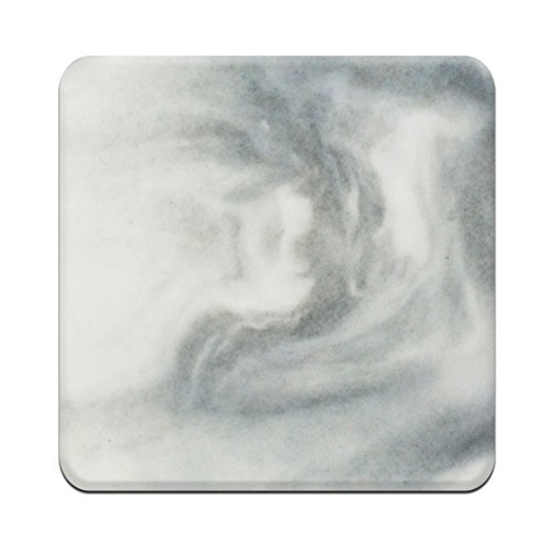Gray Marble Mat (Square White Marble Coasters - Set of 4 Marble Pattern Coasters For Bar Drinks)