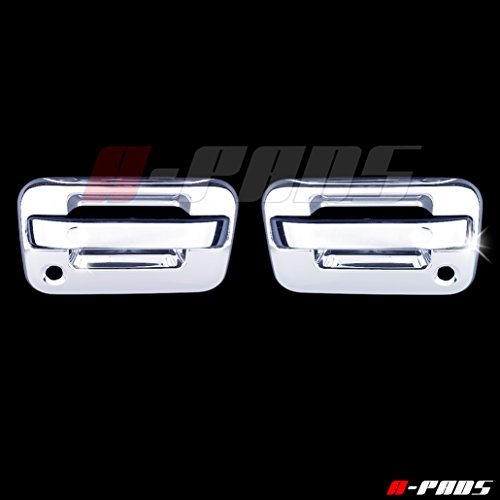 A-PADS 2 Chrome Door Handle Covers for Ford F150 2004-2014 - WITH Passenger Keyhole & WITHOUT Keypad [NOT for Heritage]