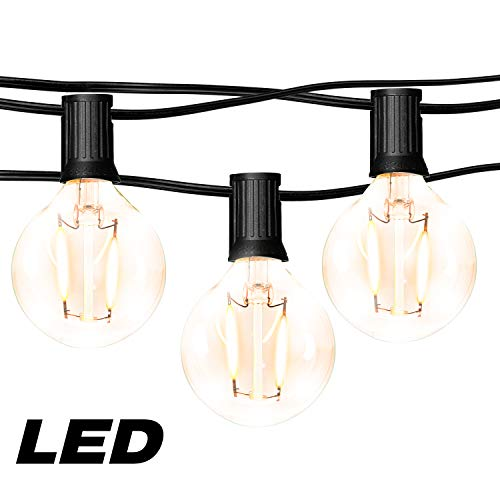 hykolity 50FT LED Outdoor Globe String Lights with 25 Hanging Sockets, Dimmable 27x1W Vintage Edison Bulbs(2 Spare), Warm White Waterproof Patio String Lights for Garden Backyard Bistro Pergola (Small Patio Pergola)