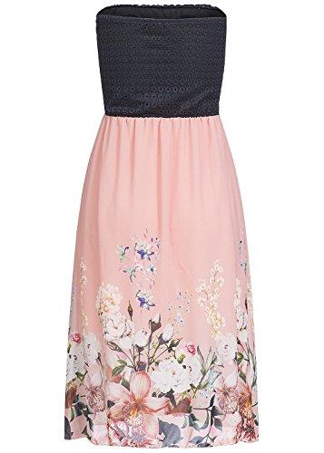 10d2869a7eb92a ... violet Fashion Damen Midi Bandeau Kleid Blumen Muster Brustpads Spitze,  schwarz rosa Schwarz Rosa