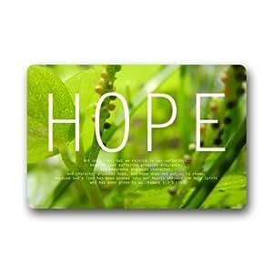 """Christian Bible Green """" Hope """" Doormats Non Slip Durable Machine-washable Home Indoors / Outdoors Doormat Mats"""