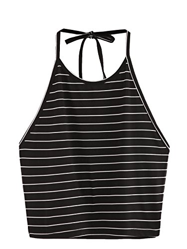 SweatyRocks Women's Sleeveless Spaghetti Strap Crop Tops Halter Vest Cami Tops (One Size, ()