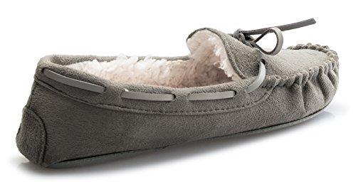Olivia K Womens Gezellige Warme Comfortabele Mocassins Loafer Grijs Suède