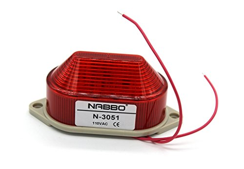 Nxtop Industrial AC 110V Red LED Warning Light Bulb Signal Tower Lamp N-3051 Steady Flash ()