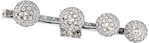 Tiara Crystal Sphere 28'' Wide 4-Light Chrome Bath Light by Possini Euro Design