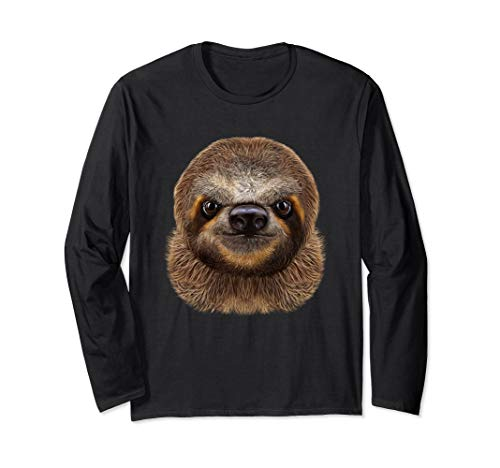 (Giant Sloth Face - Long Sleeve T-Shirt)