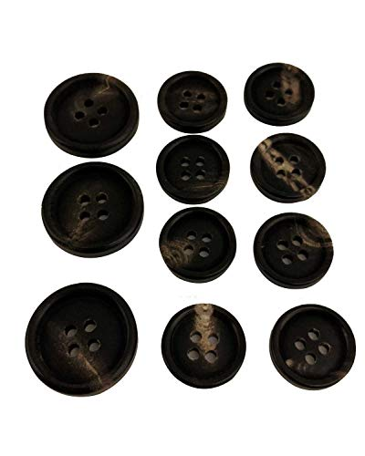 Set of 11 Premium Genuine Black with Tan Grain Ox Horn Buttons for Sport Coats, Blazers, and Suit Jackets