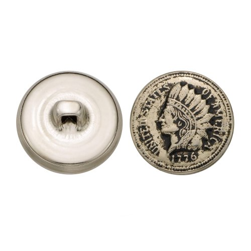 C&C Metal Products 5201 Indian Head Metal Button, Size 30 Ligne, Antique Nickel, 36-Pack by C&C Metal Products Corp