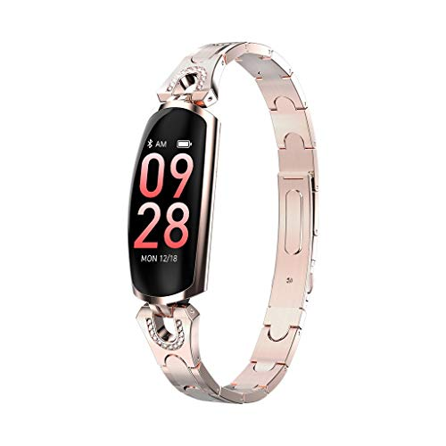 Women Smart Watch Fashion, AK16 Heart Rate Monitor Watch Bracelet Blood Pressure Fitness Smartwatch Waterproof (Gold) ()