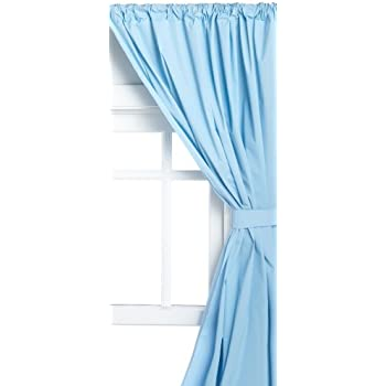 Carnation Home Fashions Vinyl Bathroom Window Curtain Light Blue