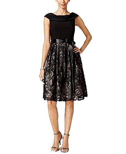 Jessica Howard Evening (Jessica Howard Soutache Belted Fit & Flare Dress (Black, 6))