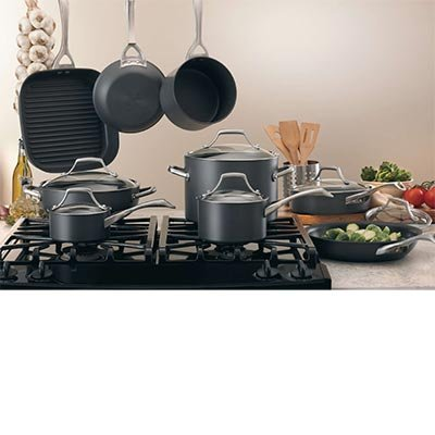 Kirkland SignatureTM 15-piece Hard-Anodized Aluminum Cookware Set with 18/10 Stainless Steel Handles and Tempered Glass Lids ()