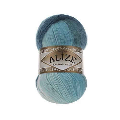 20% Wool 80% Acrylic Soft Yarn Alize Angora Gold Batik Thread Crochet Lace Hand Knitting Turkish Yarn Lot of 4skn 400gr 2408yds Color Gradient 1892 ()