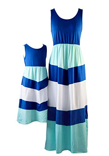 Summer Cute Mommy and Me Boho Striped Chevron Maxi Dresses (3T, Blue)]()