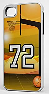 Basketball Sports Fan Player Number 72 White Rubber Hybrid Tough Case Decorative iPhone 5c Case