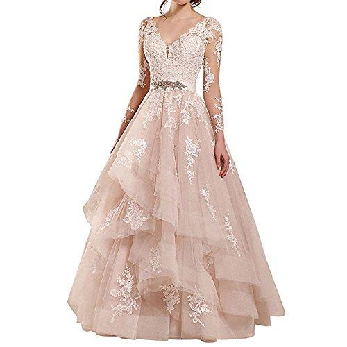 7eb77f79fe Rudina Women s Double V-Neck Lace Wedding Dress Long Sleeve Ruffles  Applique Bridal Gown Blush