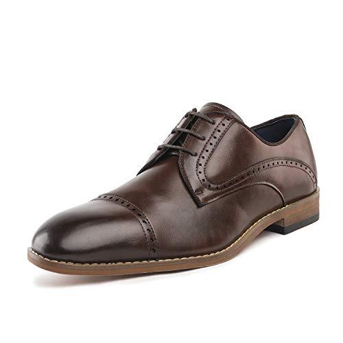 Bruno Marc Men's Brown Classic Oxfords Brogue Soft Cap-Toe Dress Shoes Size 9 M US ()