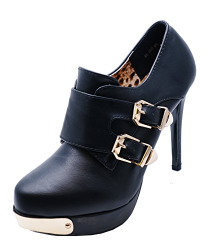 Ladies Black Slip-On Stiletto Rock-Chick Platform Ankle Boots Shoes Sizes 2-7 0yEWUXqS