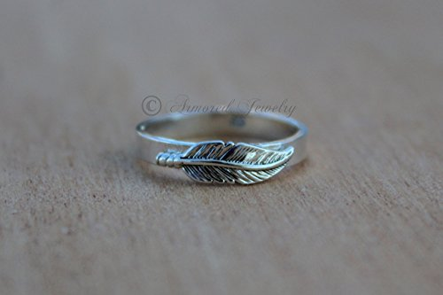 (Feather ring - Sterling silver - Feathers Indian Inspired Native American Stacking Stacker Stack Free Birds of a feather)