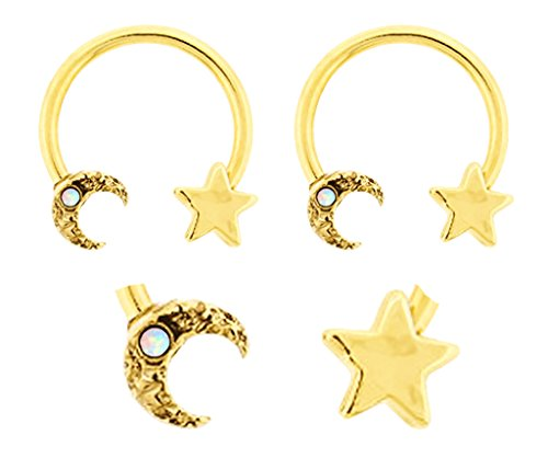 Pair of Gold White synthetic opal Moon & Star Celestial gold plated Horseshoe Ring lip, belly, nipple, septum, earring hoop 14g