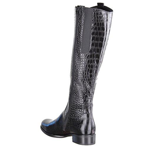 Gabor 31637-80-Chaussures pour Femme Bottes tendance, noir, cuir (Croco Antico), Paragraphe Hauteur: 30mm