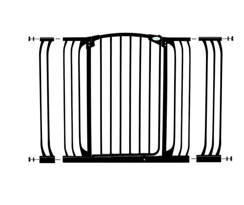 Dreambaby Chelsea Extra Tall and Wide Auto Close Security Gate in Black with Extensions For Sale