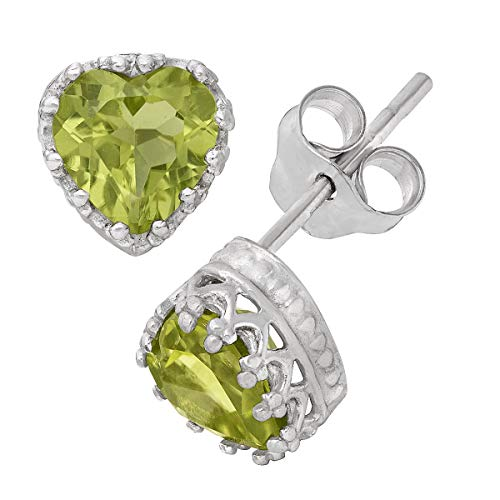 14K White Gold Finish 1.10Ctw Heart Cut Peridot CZ Crown Women Stud Earring