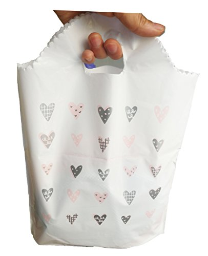 50Pcs Merchandise Bags with Handles with Bottom Gusset, Plastic Shopping Bags Boutique Gift Bags,Size:9.8''x13''x2.4'',5.2 Mil