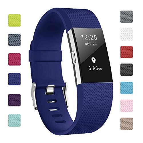 "Soulen Bands Compatible with Fitbit Charge 2, Classic & Special Edition Replacement Band Fitbit Charge 2, Large Small, for Women Men (A# 1pack Navy Blue, Small (5.7""-7.8""))"