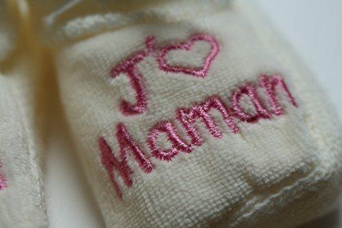 Brodés Coeur Maman J'aime Bébé rose Beige Chaussons qzZCH