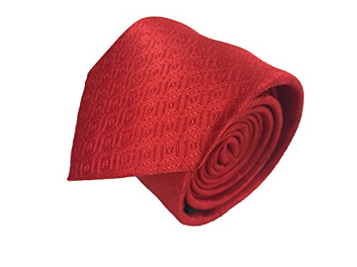 Luxury Mens Neckties,100% Italian Microfiber Hand Made, 15 Awesome Variations (Red) -