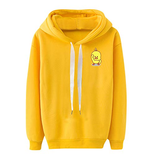 Rambling Womens Teen Girls Hooded Sweatshirt, Cute Little Yellow Duck Printed Drawstring Pullover Top Loose Sweatshirt