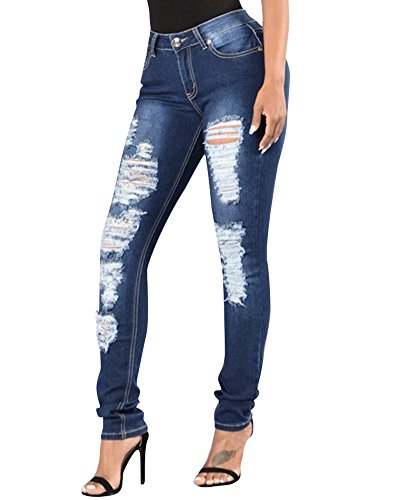 Dchir Femmes Comme Pantalons Image Fit Haute Slim Jeans Skinny Denim Trous Taille Axgx7O