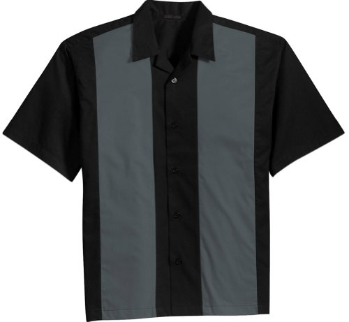 Bowler Mens Shirt - Joe's USA Retro Camp Bowling Shirts in 5 Colors from XS-4XL Black/Steel Grey