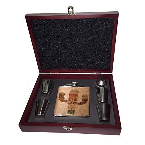 Sunshine Cases 南西部サボテンパターン 6オンス Liquor ヒップフラスコ 木製ボックス ギフトセット ショットグラス&じょうご   B07KVHVTY5