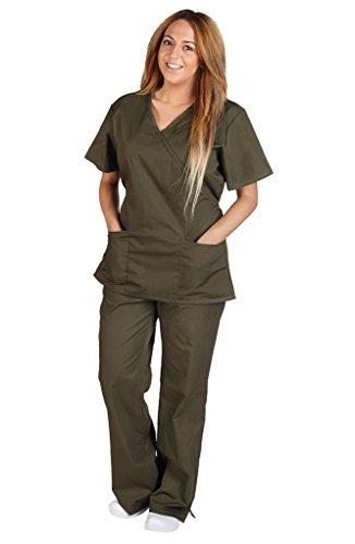 Pant Set Scrub Flare - M&M Scrubs Women Mock Wrap/Flare Pant Set Medical Scrub Set XXXL Olive