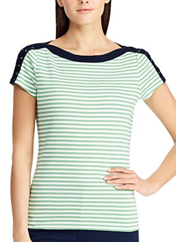 Chaps Women's Striped Lace-Up Shoulder Tee (Green Multi, - Up Lace Chaps Womens