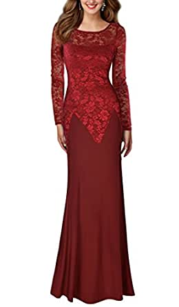 REPHYLLIS Women's Retro Floral Lace Wedding Maxi Bridesmaid Long Dress S Red