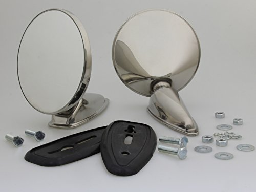 Classic Vintage Chrome Door Fender Mirrors Replacement Outside Mirrors New Pair LH/RH Fit LOTUS ELAN 1962 - 1973/ PORSCHE 1963-1980/ CADILLAC 1948-1970/ FERRARI 1964-1968/ HONDA SPORTS 1963-1972 1972 Fender