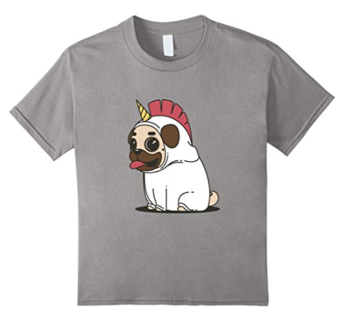 Kids Pug Dog in Disguise | Adorable Unicorn Puppy Costume T-shirt 12 Slate