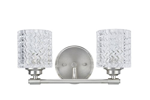 Transitional Two Light Mirror - Aspen Creative 62057, Two-Light Metal Bathroom Vanity Wall Light Fixture, 14 1/2
