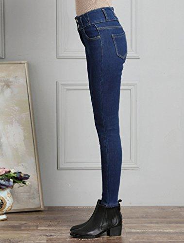 Stretch Casual Addensare Skinny Pantaloni Matita Blu Donna Denim Caldo Lunghi Jeans Leggings Inverno Scuro Sentao wqEf8xzXz