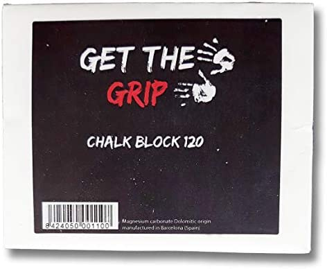 GET THE GRIP Magnesia/Chalk Block 120 Gramm! Bestes Powder zum Klettern, Bouldern, für Krafttraining, Crossfit und Turnen