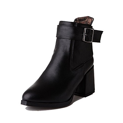 Buckle Solid Women's Heels High Black Top Boots Pu AmoonyFashion Low x6aIPXqq