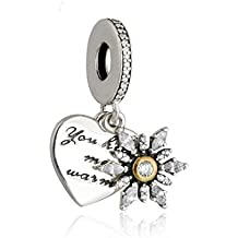 Fashion charms fit pandora bracelet Authentic Silver Gold Snowflake Heart Dangle Clear Bead