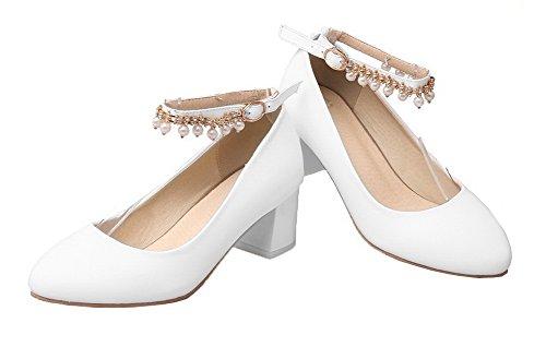 Runde Schuhe Damen Zehe Kätzchen Absatz Geschlossene Schnalle VogueZone009 Feste PU Weiß Pumps RAqEwg